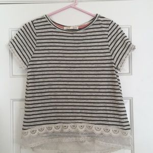 Striped T-Shirt with Lace Detail